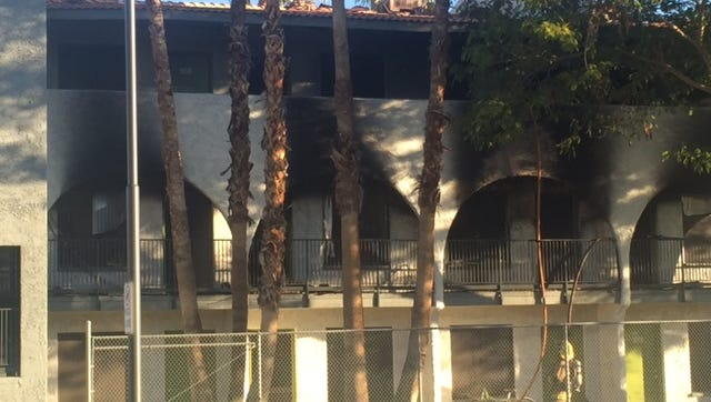 Phoenix firefighters responded to a first-alarm fire early Thursday morning near 2900 E Indian School Road after an apartment building caught fire. The fire originated around 7:30 a.m. on the second floor of a building then quickly spread to the third story on Feb. 11, 2016 in Phoenix, Ariz.