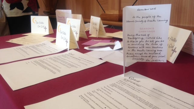 Cards and letters of support adorned a table at the Islamic Center of East Lansing on Friday as local clergy decried hate speech and pledged support for their Muslim neighbors.