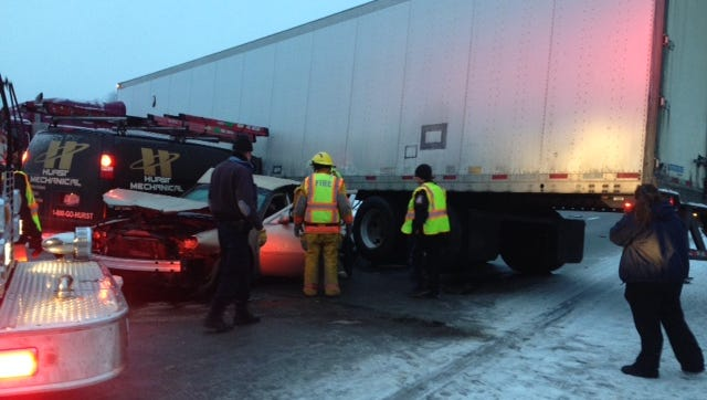 Five vehicles were involved in a crash before 8 a.m. Monday on Interstate 94 at M-66. One person was hurt.
