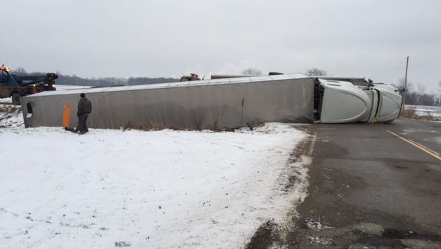 A semitruck rollover accident has closed Davis Highway at Nixon Road near the General Motors Delta Lansing Plant this morning, Eaton County officials said.