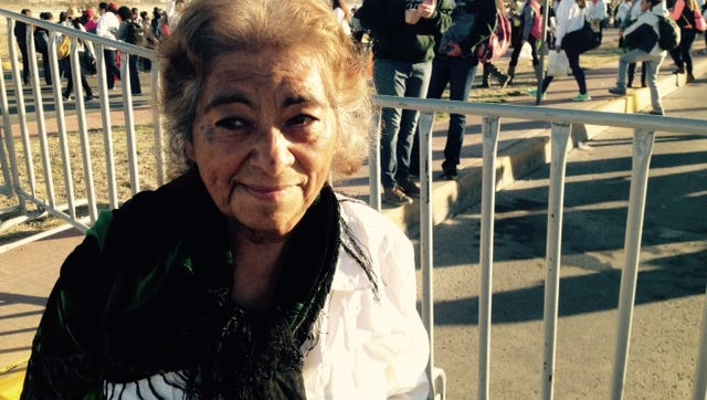 Juárez native Carmen Reyes, 77, walked for miles from her home to the site where Pope Francis was holding Mass on Wednesday. Reyes did not have a ticket, but she had hope.