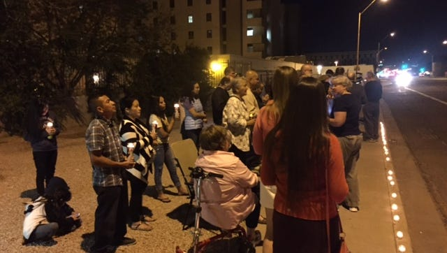 More than 45 people attended a prayer vigil outside a downtown Phoenix hospital, where pro-life activists believe staff are caring for a baby that survived an abortion at a private clinic, on Feb. 27.