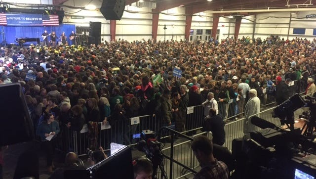 Crowd at the Champlain Valley Exposition in Essex Junction, Vt., wait for Super Tuesday primary results on Tuesday, March 1, 2016