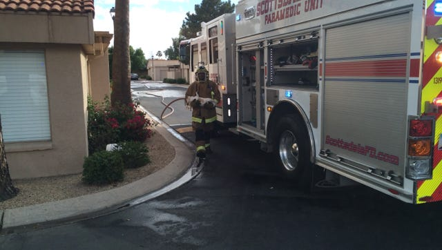 A Scottsdale Fire Department firefighter carries a dog from the scene of a bee attack.