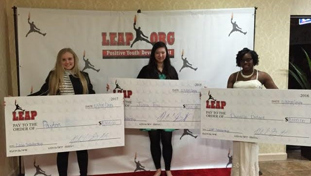 Payton Hall, Jinna Free and Danielle Dillard were awarded scholarships from the LEAP organization.