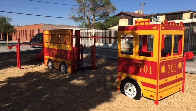 Firetruck playground before it was destroyed in a weekend fire at Paseos  de Los Heroes Park.