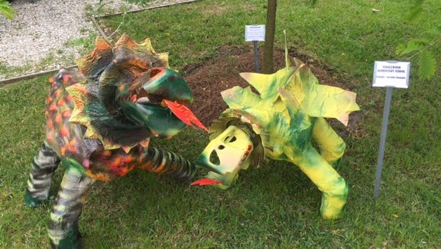 Visitors to Edison & Ford Winter Estates can view statues of dinosaurs, which were created with recycled material by students and teachers from 17 Lee County schools.