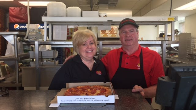 Laura and Steve Miller, the owners of Marco's Pizza at 1305 Lexington Ave. and 888 Ashland Road, are delivering pizzas to some local first responders as the pizza chain celebrates the opening of store No. 700 in Tyler, Texas.