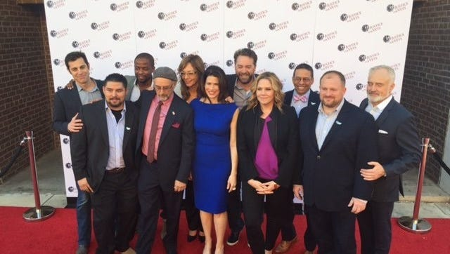"Des Moines filmmaker Brent Roske, fifth from right, produced a video with ""The West Wing"" cast in Los Angeles to support the nonprofit Justice for Vets."