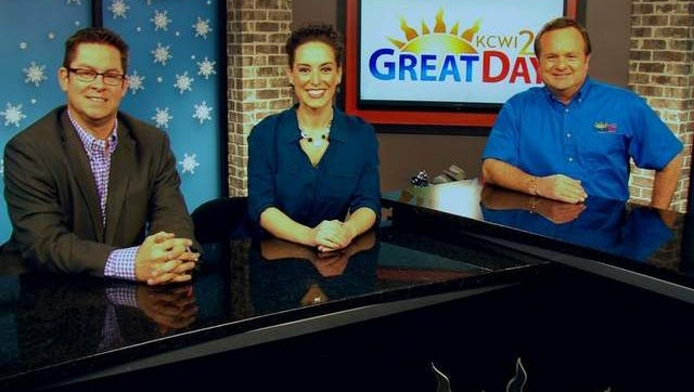 """Jason Parkin, Jackie Schmillen and Lou Sipolt are in front of the camera for KCWI-TV's """"Great Day"""" morning program."""