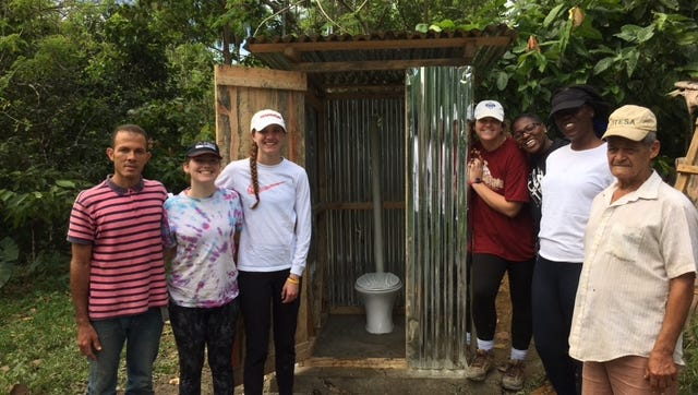 Students on Alternative Spring Break in the Dominican Republic helped build latrines in rural parts of the country.