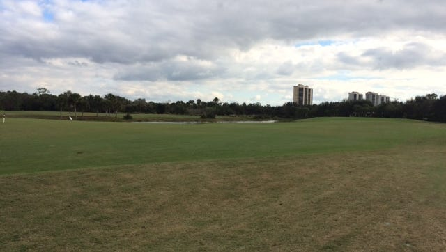 A section of the Raptor Bay golf course at Pelican Landing in Bonita Springs. Estero officials say the village may have some authority in approving the erection of four 22 story towers on parts of the golf course property.