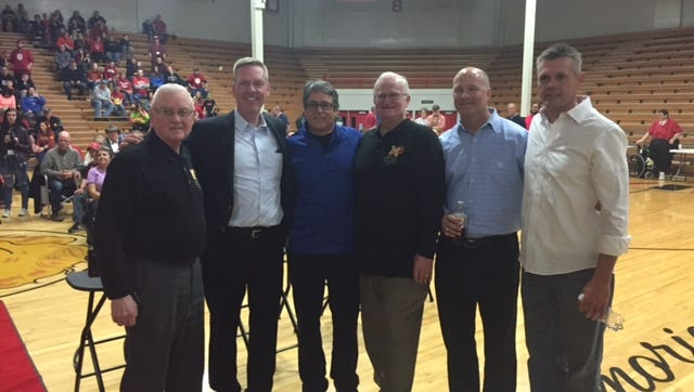 """From left: Ray Craft, Steve Hollar, Angelo Pizzo, Bobby Plump, Brad Long, Maris Valainis. Pizzo was the screenwriter and a producer of the move """"Hoosiers,"""" while Hollar, Long and Valainis starred in the film portraying the exploits of Plump, Craft and the 1954 Milan Miracle team."""