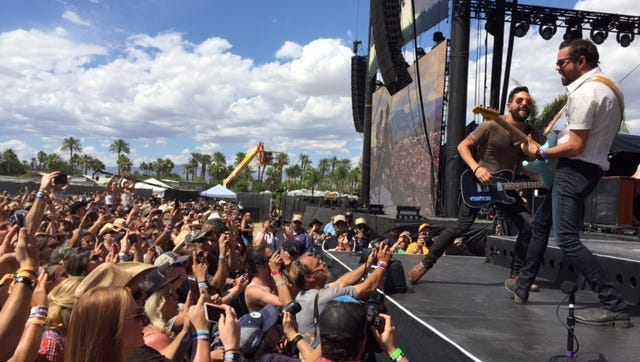 Old Dominion gets the crowd going at the Mane Stage during their performance at Stagecoach, California's Country Music Festival, Sunday May 1, 2016.