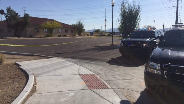 Authorities were investigating a shots-fired call at the Maricopa County Sheriff's Office substation in Surprise, Ariz., on May 20, 2016.