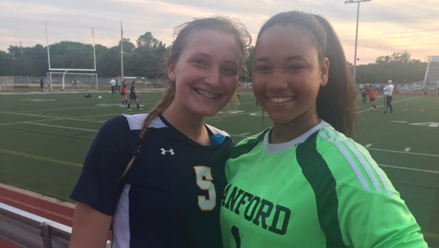 Kendal Trickey (left) scored and 8th-grade goalie Maria Thomas was clutch in goal for Sanford in its 1-0 Division II girls soccer state tournament quarterfinal win over Archmere.