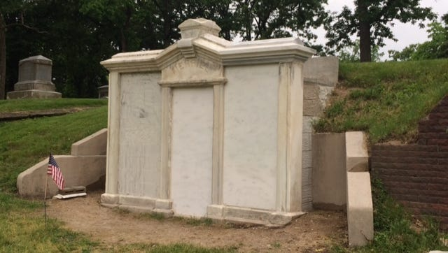 The newly restored gravesite of former Iowa Gov. Samuel Merrill is at Woodland Cemetery.