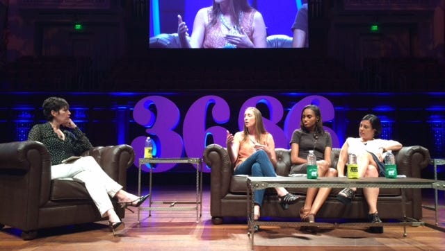 Kelly Hoey interviews Corie Hardee, Jewel Burks and Joanne Wilson at Launch Tennessee's 36|86 regional startup conference on Monday in Nashville.