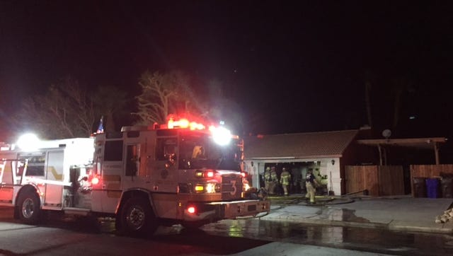 Palm Springs firefighters responded to a garage fire at 1944 Desert Park Avenue Thursday night.