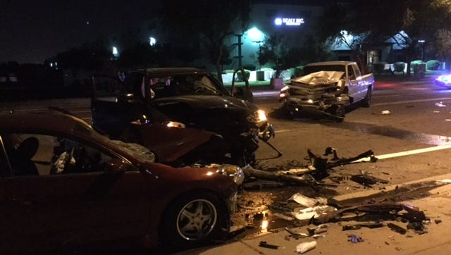 A three vehicle collision sent five men to local hospitals in critical condition Saturday evening, officials said.