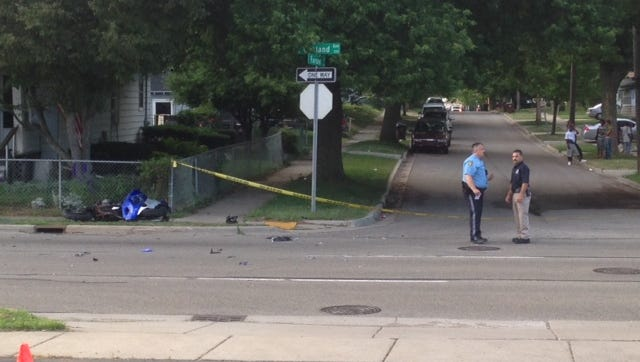 Lansing police were investigating a serious crash involving a motorcycle at Oakland Avenue and Farrand Street.