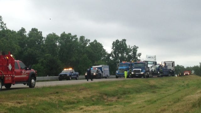Southbound U.S. 127 is closed at I-496 because of a crash involving a semi truck.