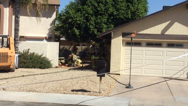 Around 20 Phoenix and Glendale firefighters responded to the area of 43rd Avenue and Union Hills to secure a gas leak from a 125-gallon propane tank.