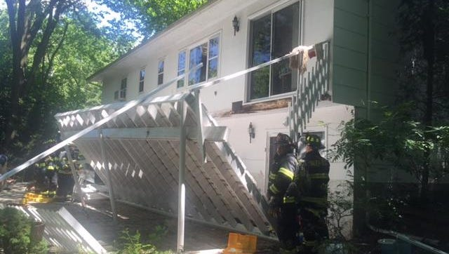 Damage after porch collapse on Silver Lane in Chestnut Ridge