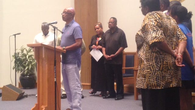 The Rev. Melvin Jones speaks at a news conference on Thursday at Union Missionary Baptist Church.