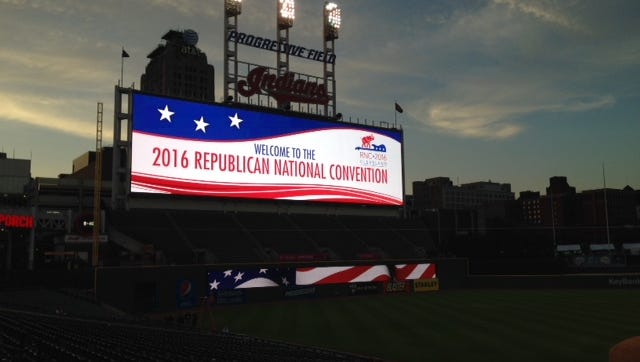 The GOP Convention lights up the Cleveland sky.