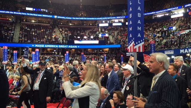 Alabama's delegation on the floor of the Republican National Convention at Quicken Loans Arena in Cleveland.
