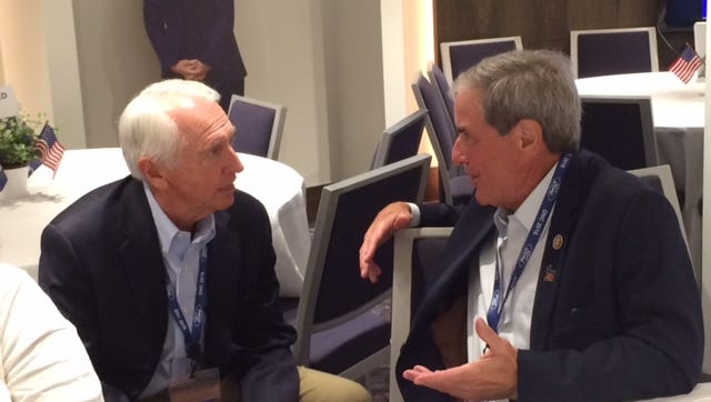 Former Kentucky Gov. Steve Beshear and U.S. Rep. John Yarmuth, D-Louisville, at the breakfast for the Kentucky delegation at the Democratic National Convention, July 26, 2016.