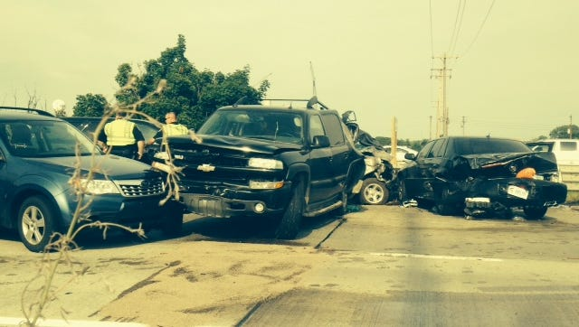 The southbound lanes of U.S. 127 were closed on Friday evening because of a crash involving six vehicles.