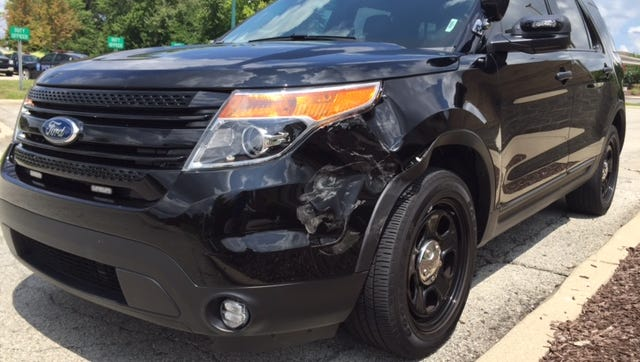 Fishers police said a man operating a stolen vehicle rammed into this police SUV on Sunday, July 31, 2016.