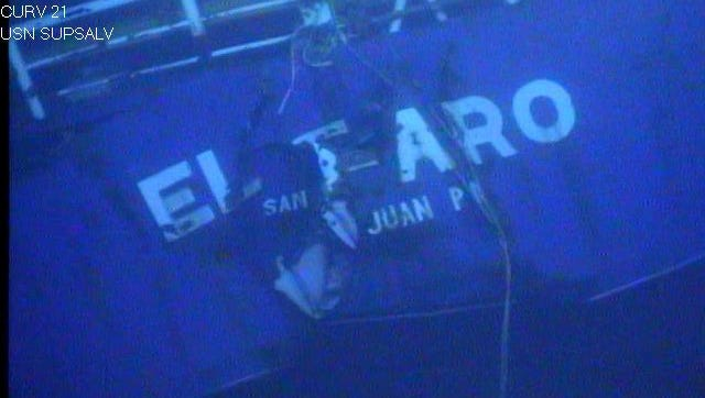 In this photograph released by the National Transportation Safety Board, the damaged stern of the sunken freighter El Faro is seen on the seafloor, 15,000-feet deep near the Bahamas. The freighter sunk on Oct. 1, 2015, after losing engine power and getting caught in a Category 4 hurricane. All 33 crew members aboard were lost at sea. Federal investigators are considering launching another search of the wreckage of a freighter. (National Transportation Safety Board via AP)
