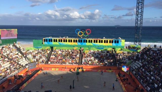 The Olympic beach volleyball stadium rests on Copacabana Beach.