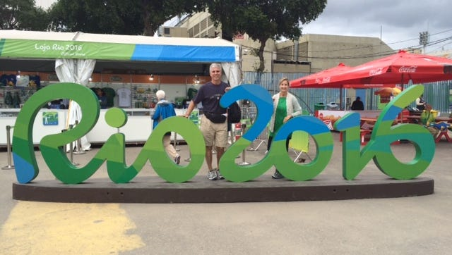 Dave, left, and Deborah, right, Curry in Rio.