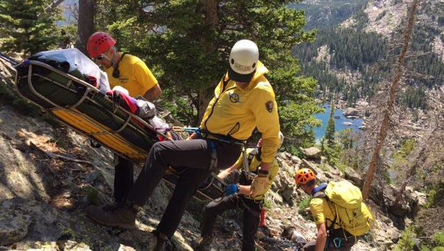 A 45-year-old man was rescued Tuesday in Rocky Mountain National Park after falling while srambling about 1,000 feet above Lake Haiyaha.