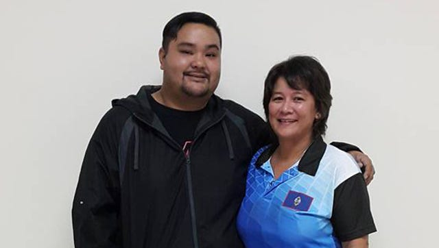 Victor San Nicolas, left, won the Budweiser King of the Lanes and Arlene Reyes, right, won the Budweiser Prince of the Lanes title for August.