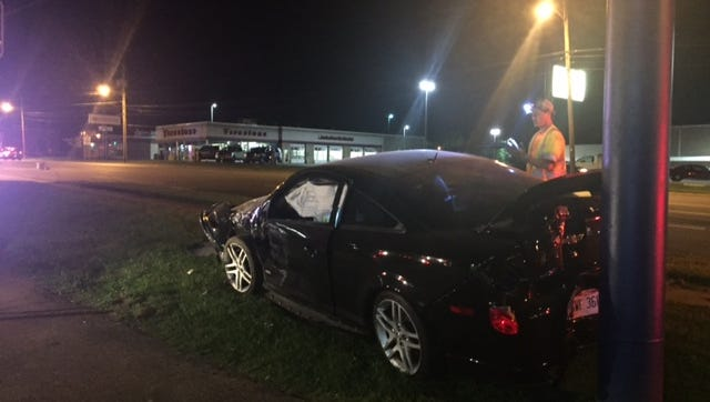 This car was involved in a crash on Park Avenue West at 12:45 a.m. Saturday, Mansfield police said. The car came to rest against a sign outside the Titlemax business on the Miracle Mile.