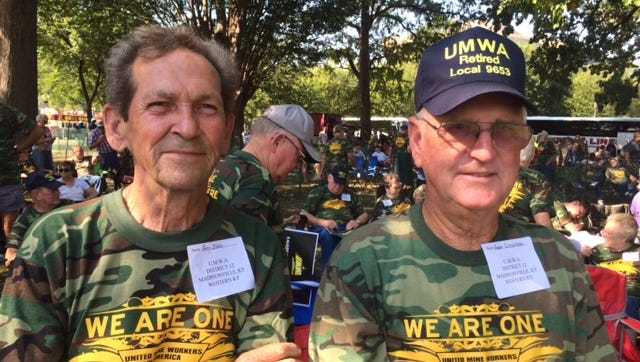 """Percy """"Buddy"""" Blake, left, and Bobby Littlepage of Maidsonville, Ky. at a rally in Washington , D.C. on Sept. 8, 2016 for legislation that would protect coal miners' health and pension benefits."""