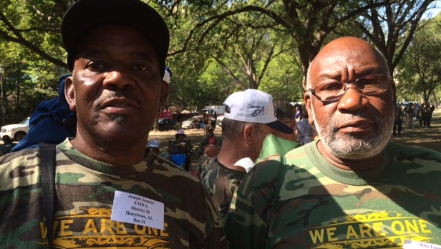 Joseph Samuel, left, and Mike Foster, of Hueytown, Ala., at a rally in Washington, D.C. on August 8, 2016 for legislation that would protect coal miners' pensions and health benefits.