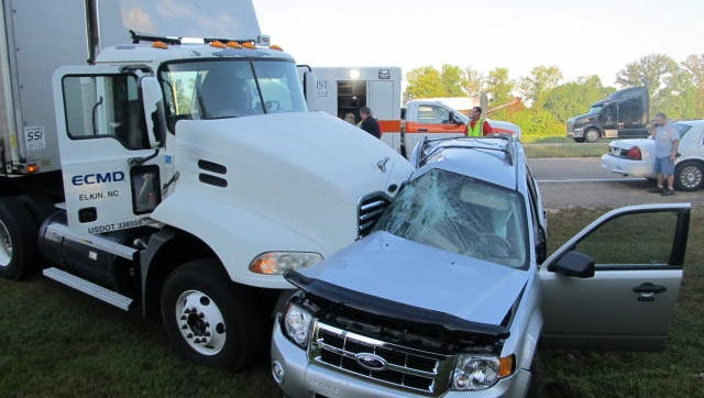 A 16-year-old Huntingdon High School student's life likely was saved by her seat belt and airbag when a tractor-trailer hit her SUV on Tuesday, authorities said.