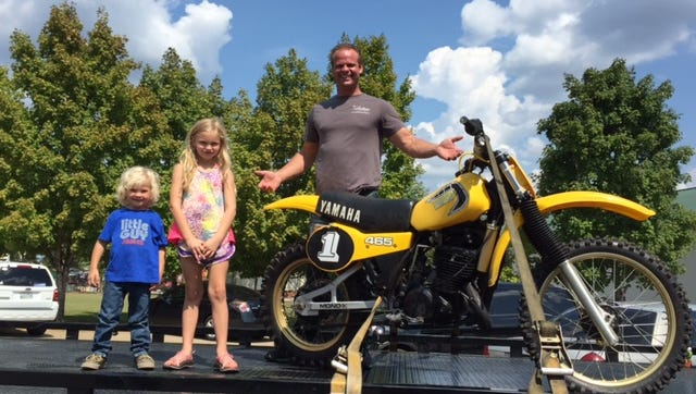 Tre Faulker retrieved his racing motorcycle from the Rutherford County Sheriff's Office on Wednesday, Sept. 14, 2016. was accompanied by his daughter Elizabeth, 7, and son James, 4.