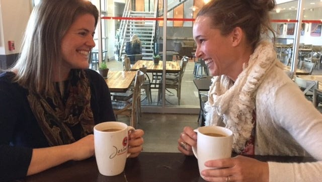 Brooke Nicholson Grote and Raena Rasmussen meet regularly for coffee and catching up.