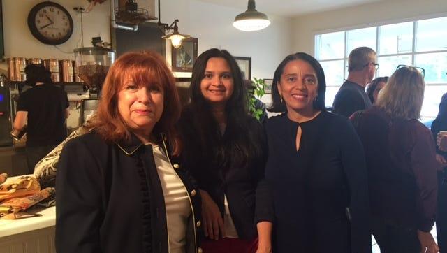 Toby Nadler, lohud Engagement editor Swapna Venugopal Ramaswamy and Maria Lugo at the lohud Coffee Chat in Chestnut Ridge on Sept. 30,2016