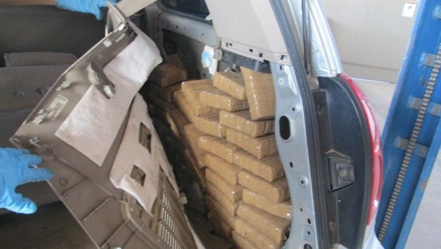 U.S. Customs and Border Protection officers seized more than 200 pounds of marijuana hidden in a van at the Ysleta Port of Entry on Saturday.
