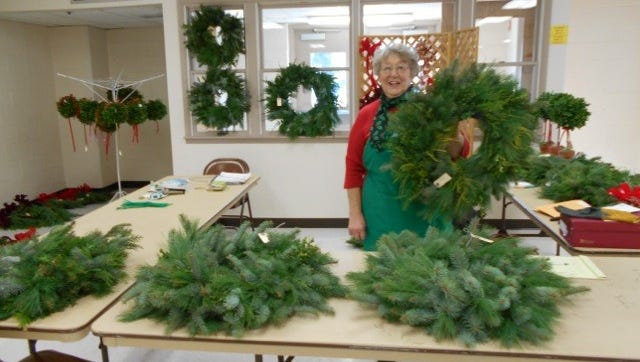 Wreaths, kissing balls, topiaries, arrangements, and table trees are among the offerings at the Chambersburg Garden Club's annual greens sale.