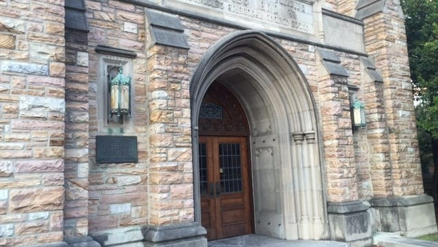 A swastika was carved onto one of the doors of West End United Methodist Church about three weeks ago.