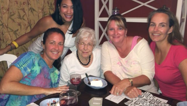 """Cape Canaveral resident Maggy Simony, 96, seated second from left, has been helping a group of Brevard Gen Xers learn the art of """"sociable bridge."""" From left are Kathy Abel, Cherrie Deray (standing), Sue Ryan and Laura Krohne."""